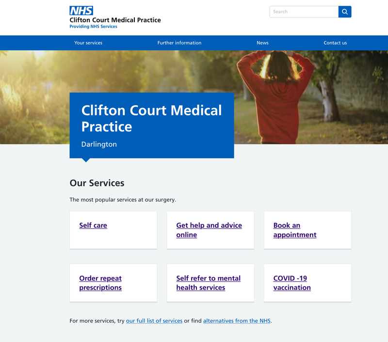 Example of Clifton Court Medical Practice Website